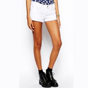 Low Rise Short Short Distressed Denim Shorts